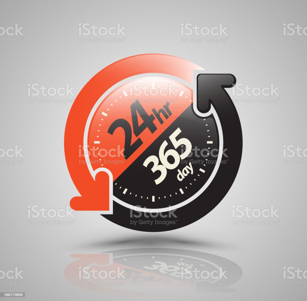 24hr 365 day with two circle arrow icon. vector art illustration