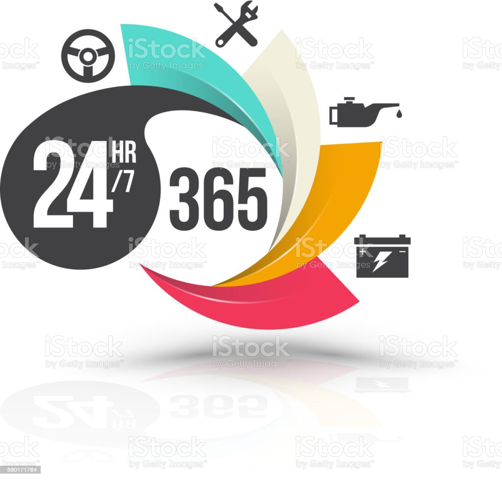 24hr 7 and 365 day with icons for services banner. vector art illustration
