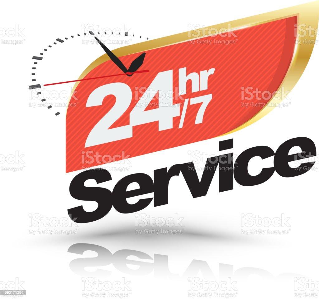 24hr /7 service with Clock banner. vector art illustration