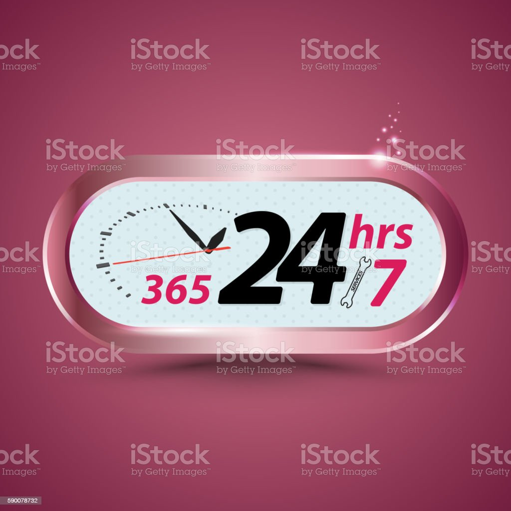 365 24hrs /7 open customer service with clock. vector art illustration