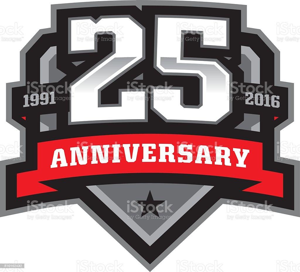 25th Anniversary Crest vector art illustration