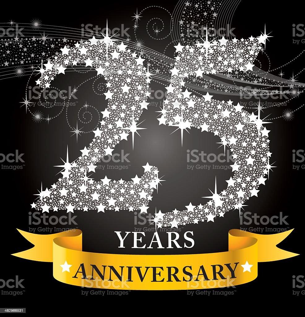 25th Anniversary vector art illustration