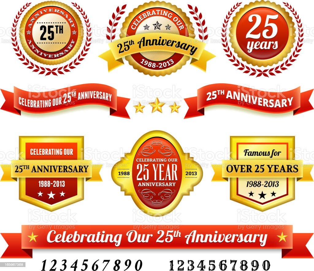 25th year anniversary Badges Red and Gold Set vector art illustration