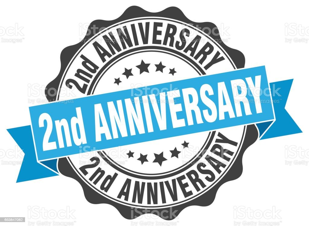 2nd anniversary stamp. sign. seal vector art illustration