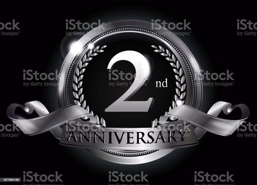 2nd silver anniversary logo vector art illustration