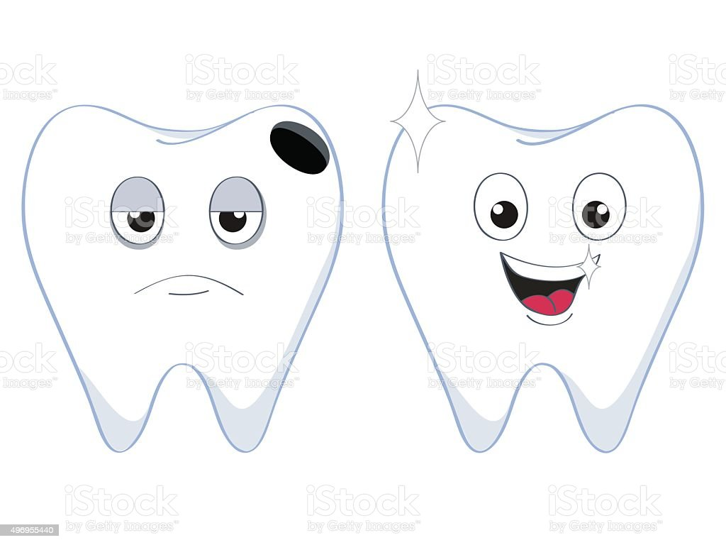 2teeth vector art illustration