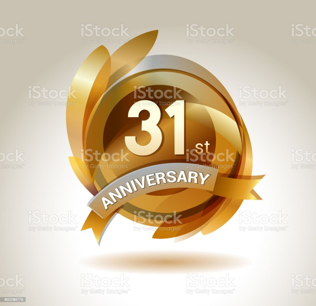 31th anniversary ribbon logo with golden circle and graphic elements vector art illustration