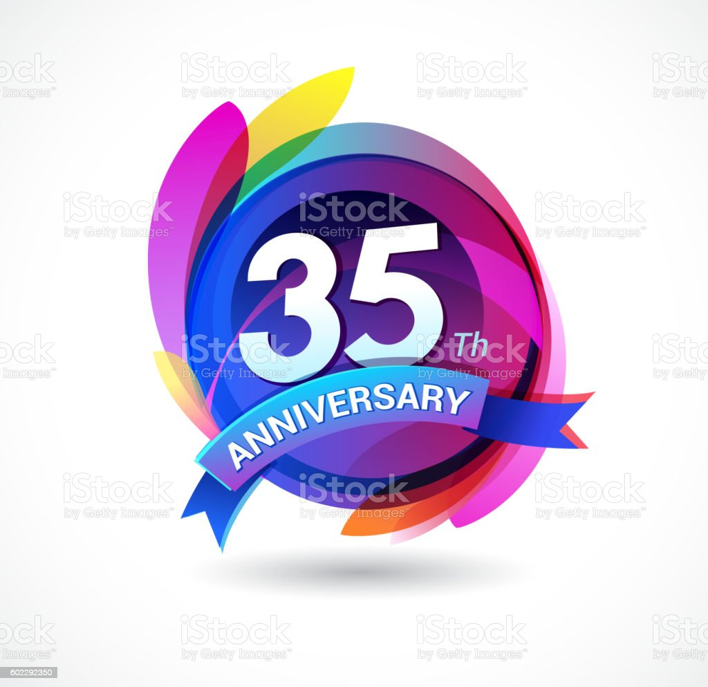 35th anniversary - abstract background with icons and elements vector art illustration