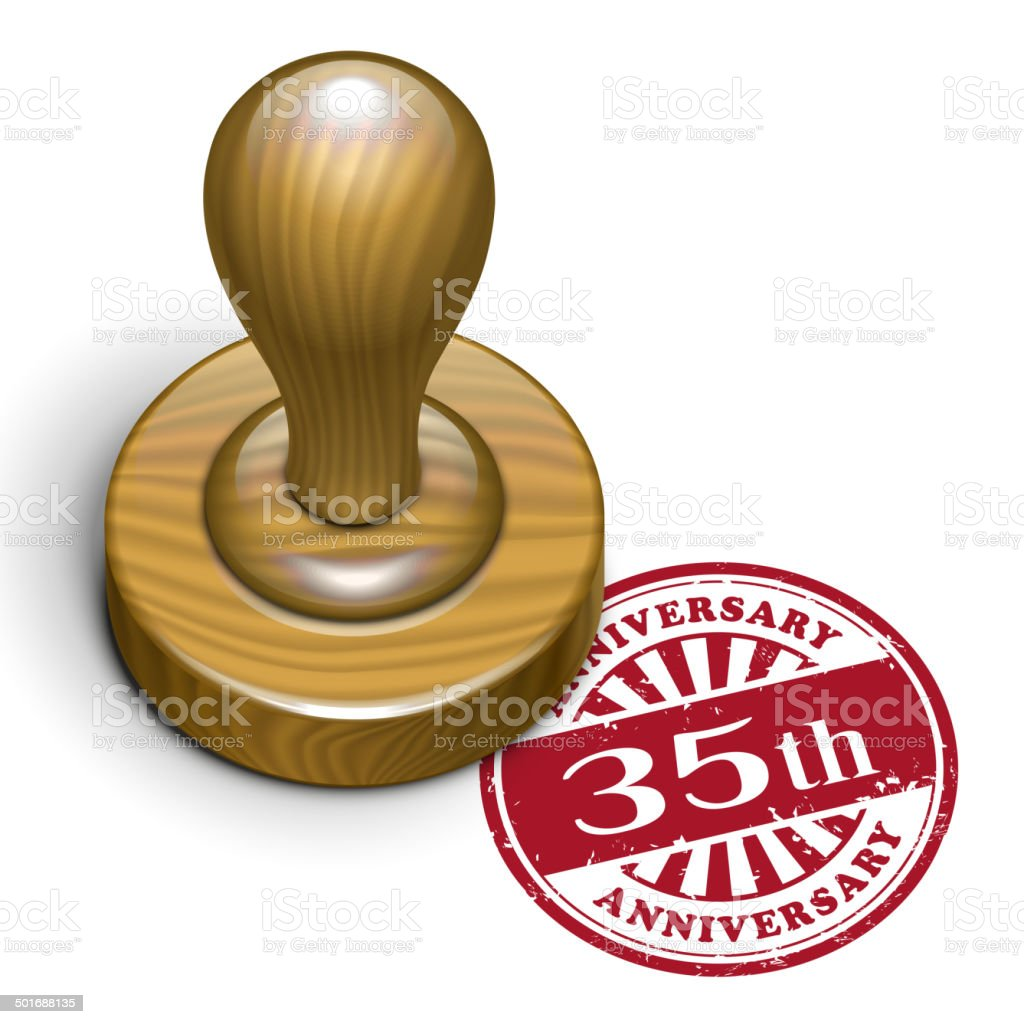 35th anniversary grunge rubber stamp royalty-free stock vector art