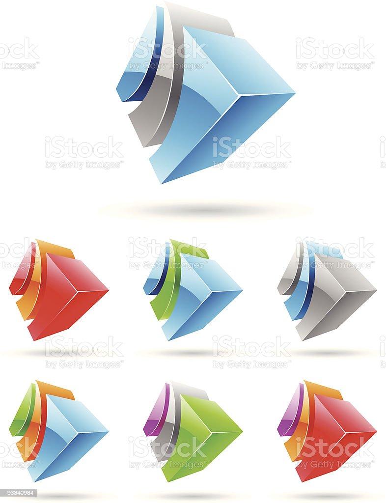 3 d abstrait série icône Set 2 stock vecteur libres de droits libre de droits