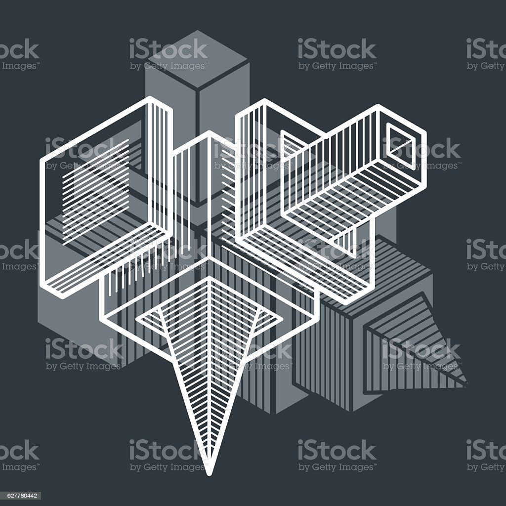 3d abstract isometric construction, vector polygonal shape. vector art illustration