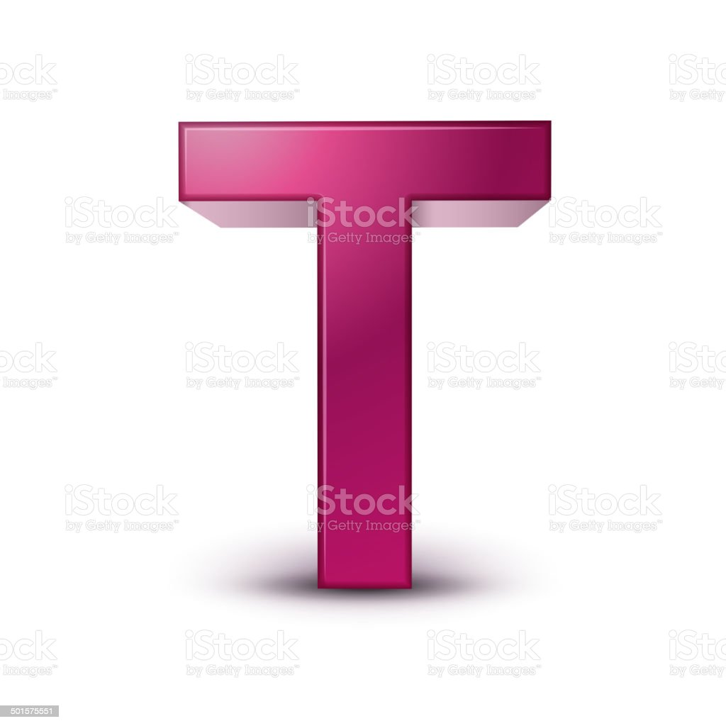 3d alphabet pink T vector art illustration