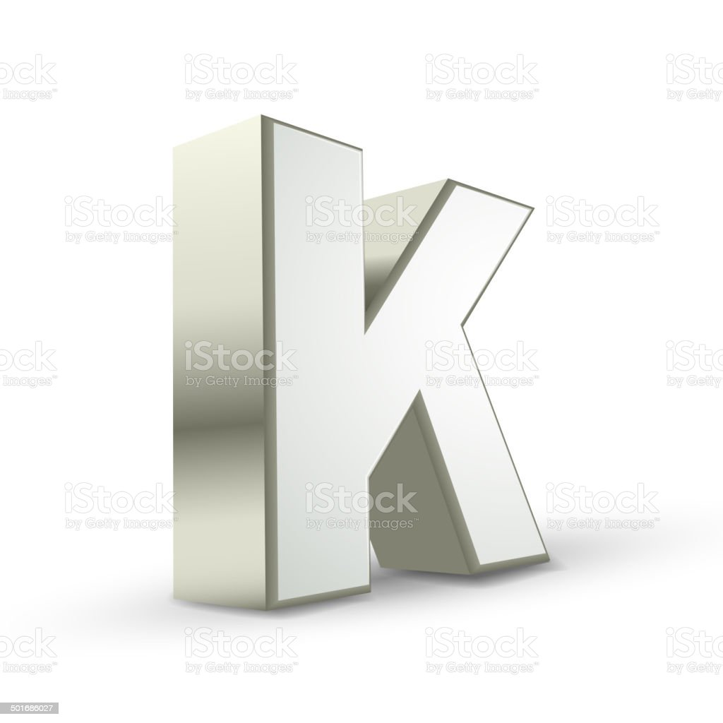 3d alphabet silver K vector art illustration