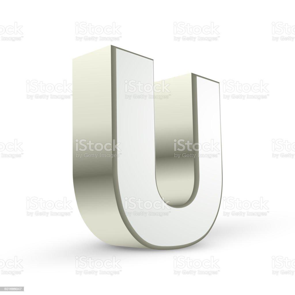 3d alphabet silver U vector art illustration