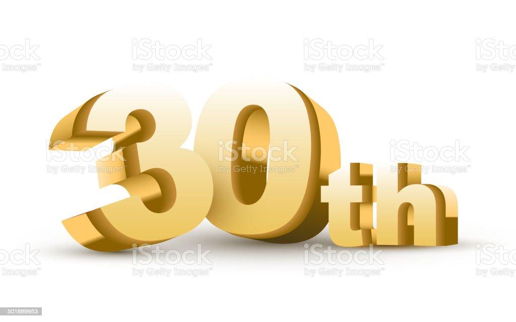 3d anniversary, 30th royalty-free stock vector art