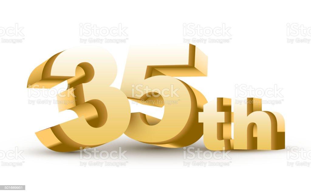 3d anniversary, 35th royalty-free stock vector art