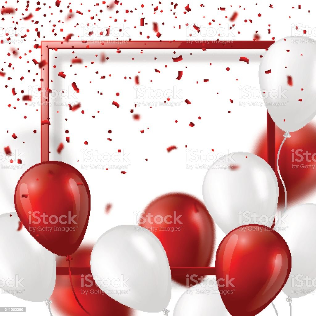 3d balloons with confetti and frame. vector art illustration
