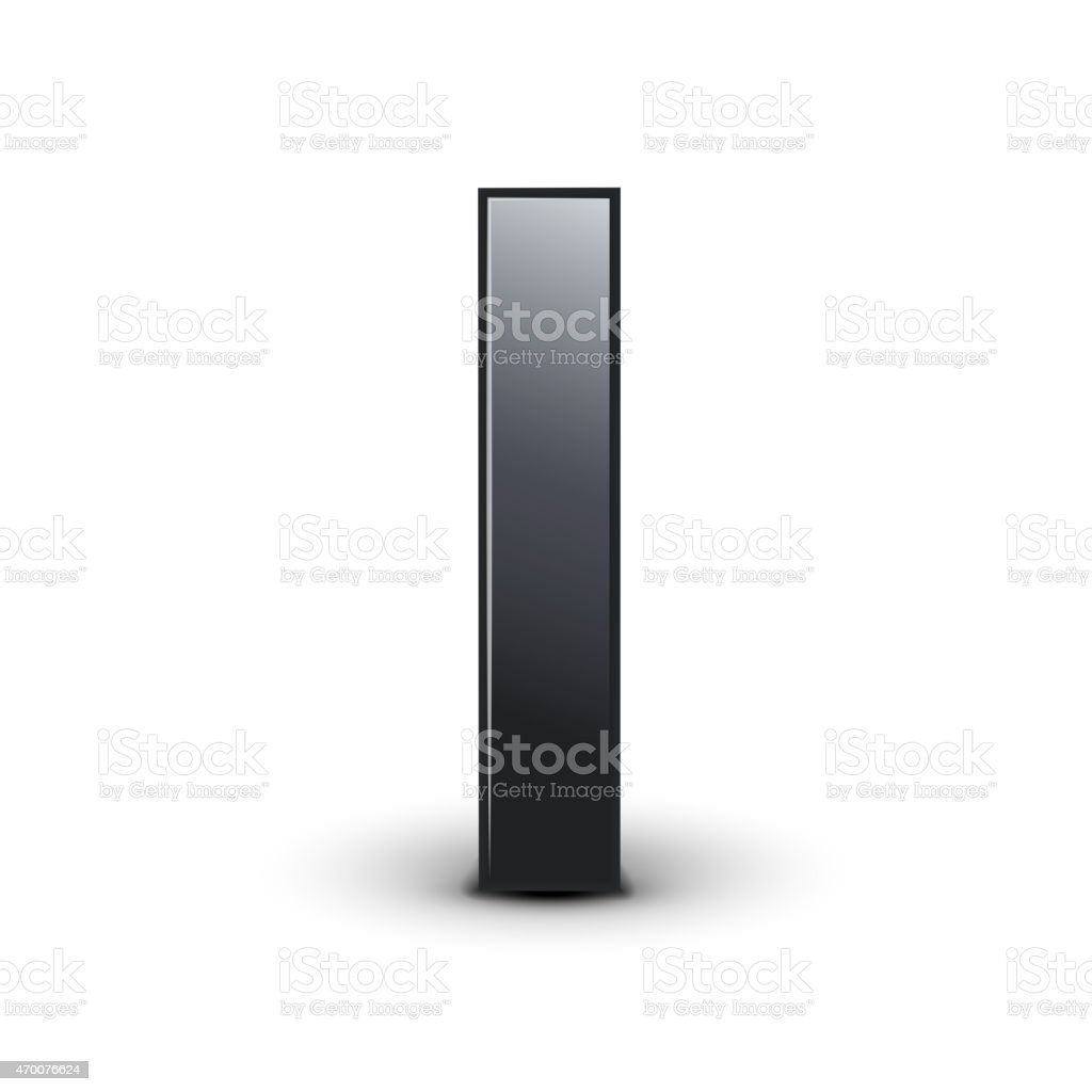 3d black letter I vector art illustration