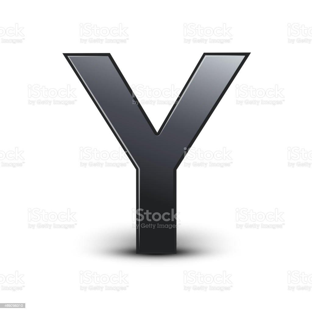3d black letter Y vector art illustration