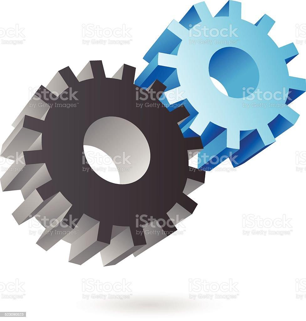 3 d bleu et noir engrenages stock vecteur libres de droits libre de droits