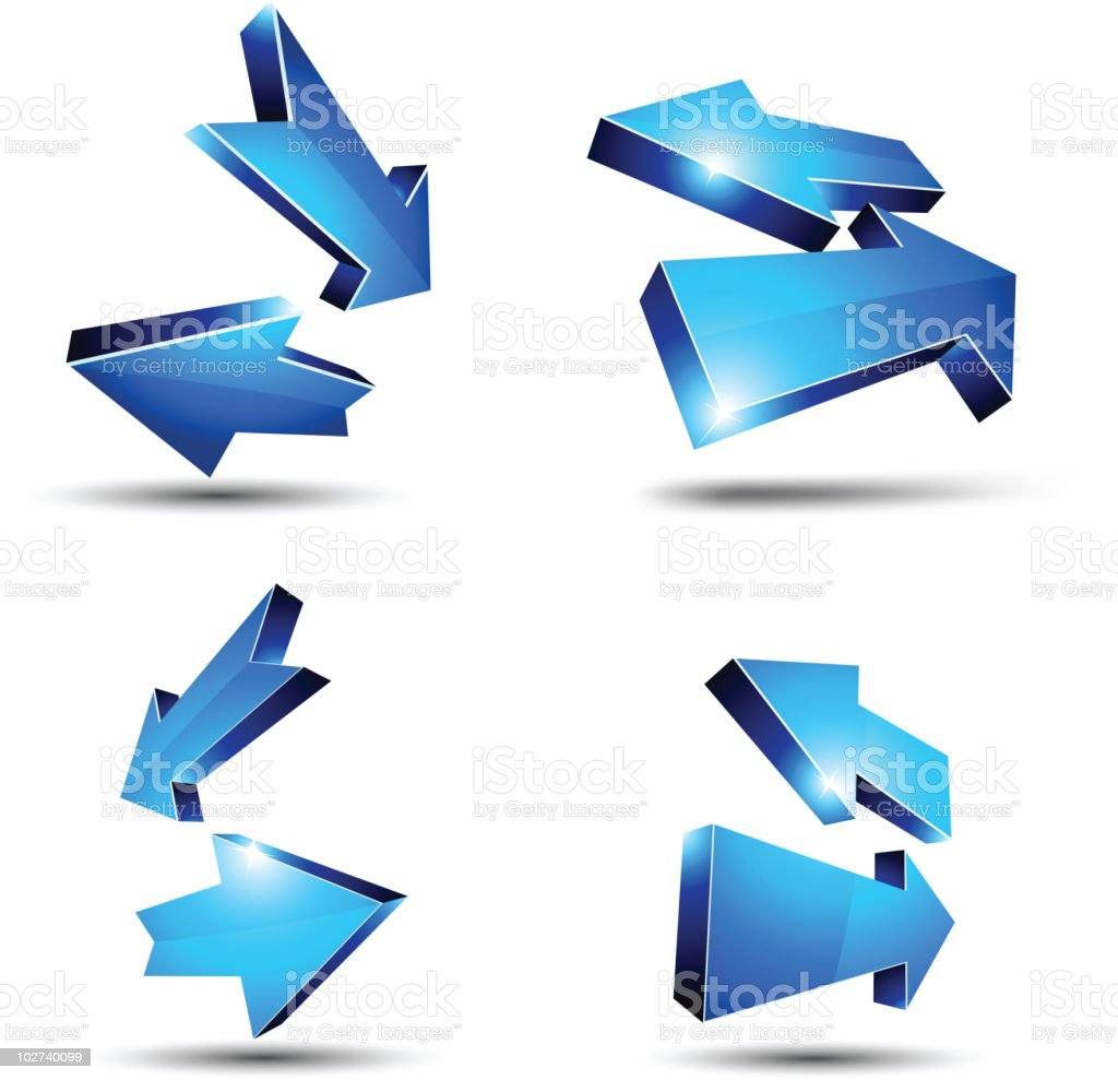 3d blue arrows. royalty-free stock vector art