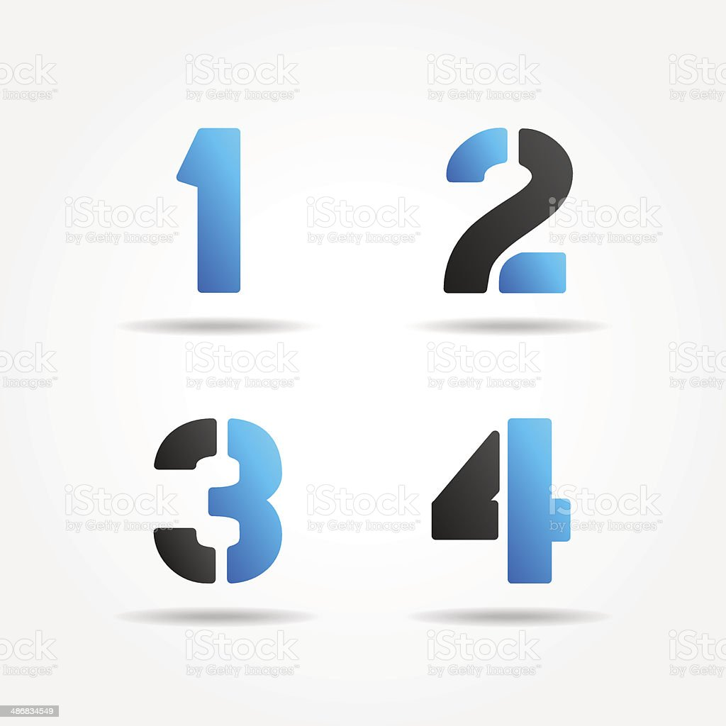 1234 3d blue stencil numbers vector art illustration