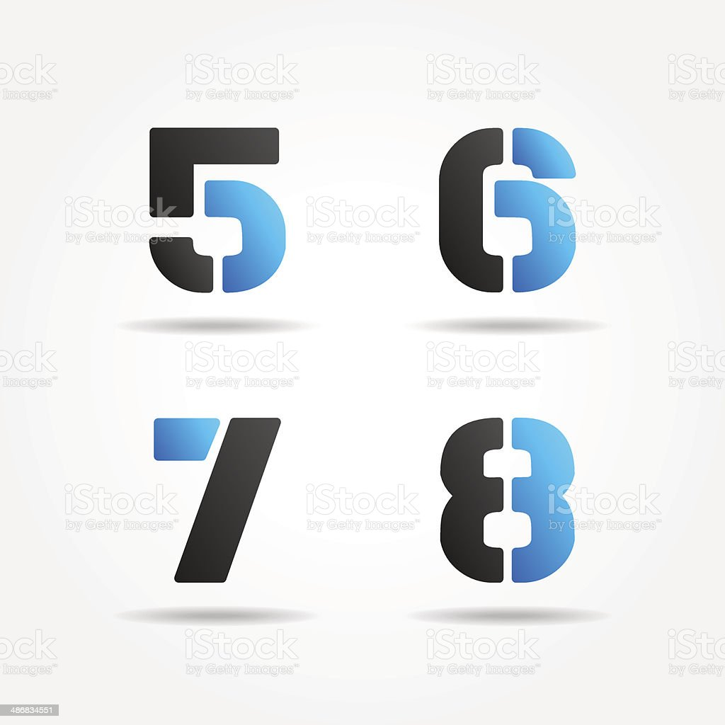 5678 3d blue stencil numbers vector art illustration