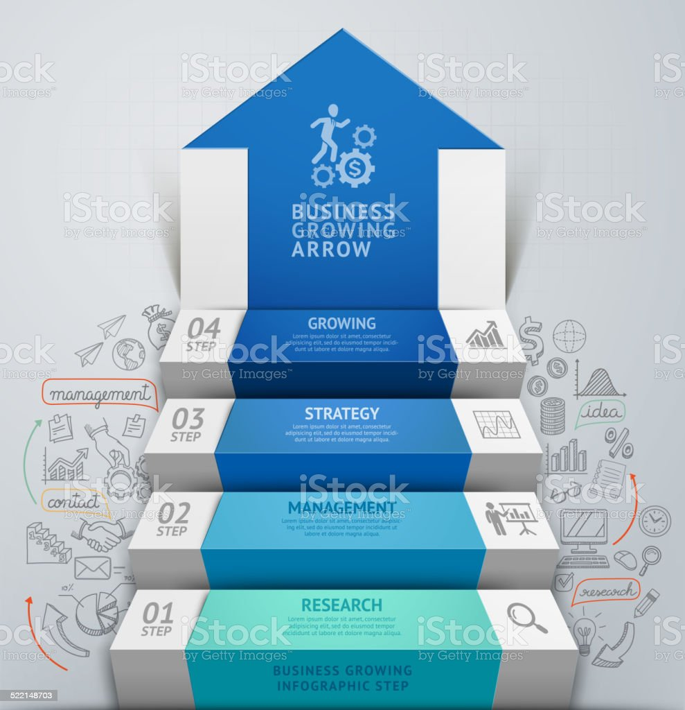 3d business arrow step staircase infographics. vector art illustration