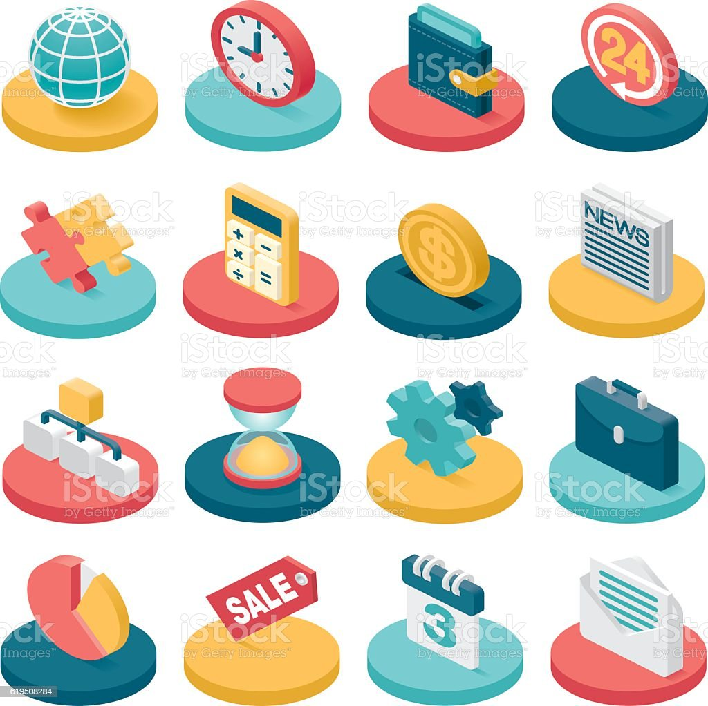 3d business icons vector art illustration