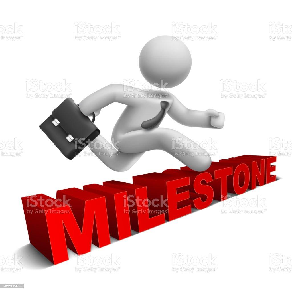 3d businessman jumping over 'milestone' word vector art illustration