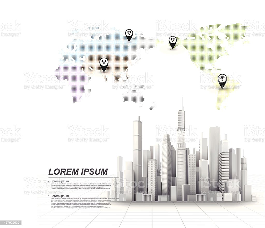 3d city vector art illustration