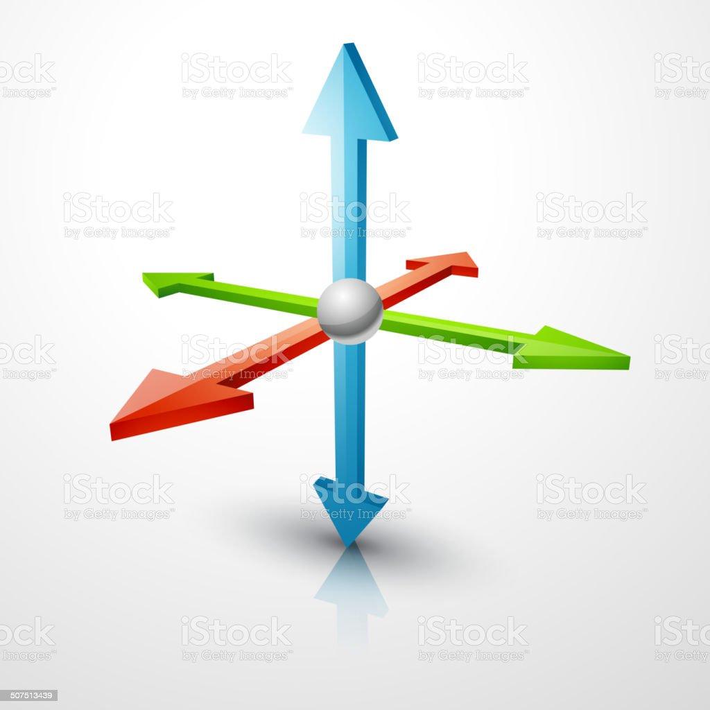 3d coordinates axis vector art illustration