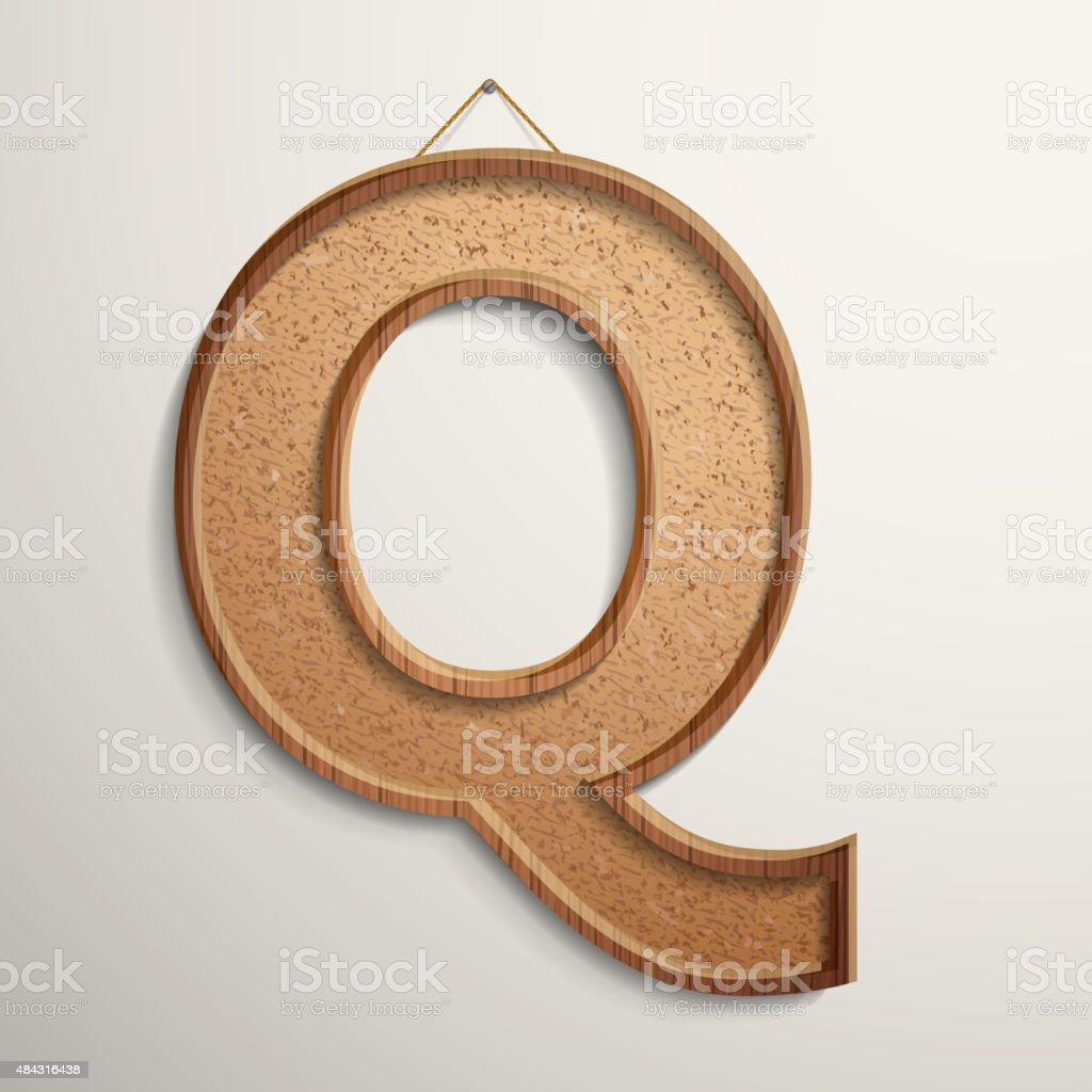 3d cork board texture letter Q royalty-free stock vector art