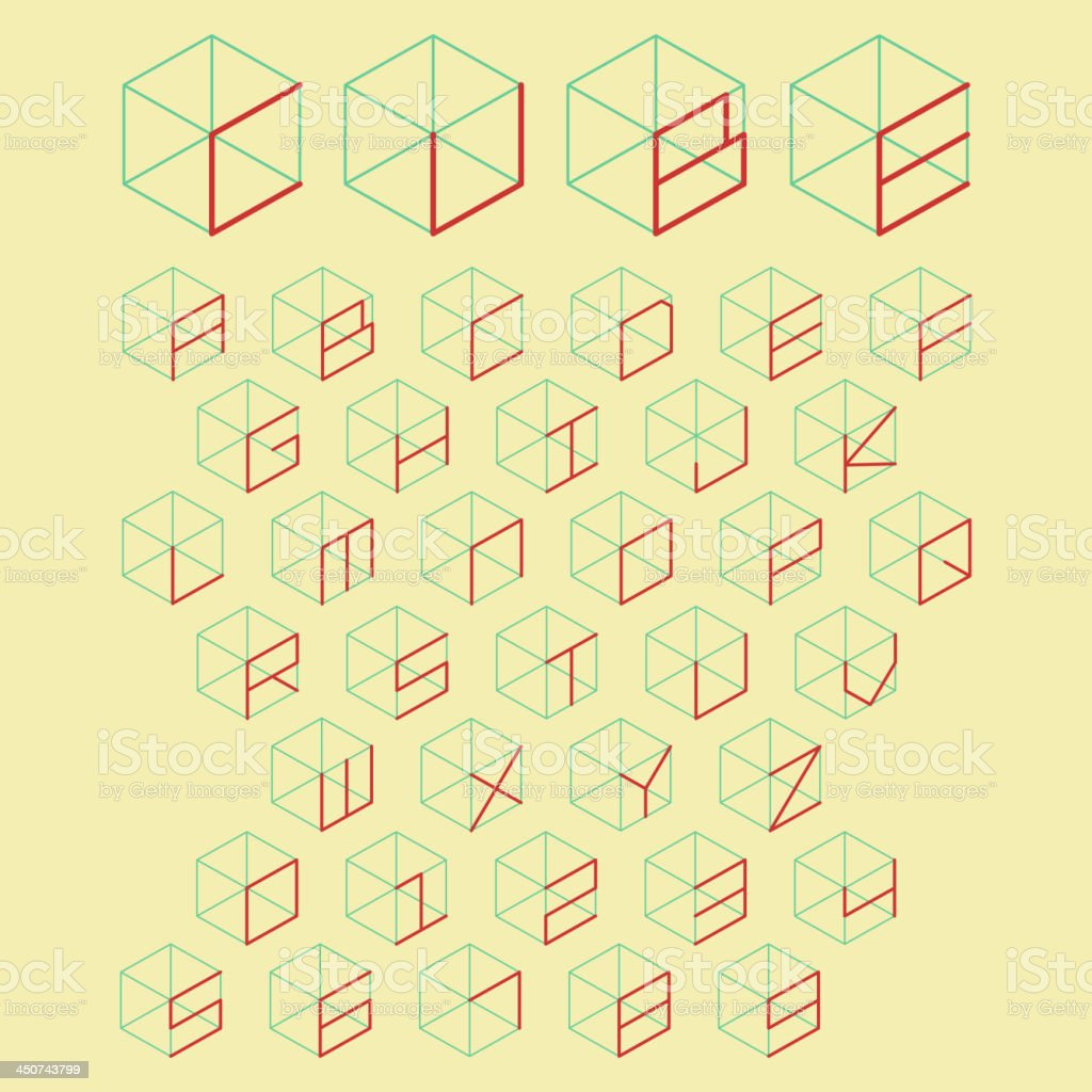 3d cube alphabet and number royalty-free stock vector art