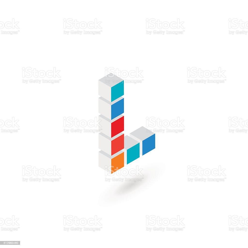 3d cube letter L icon design template elements vector art illustration