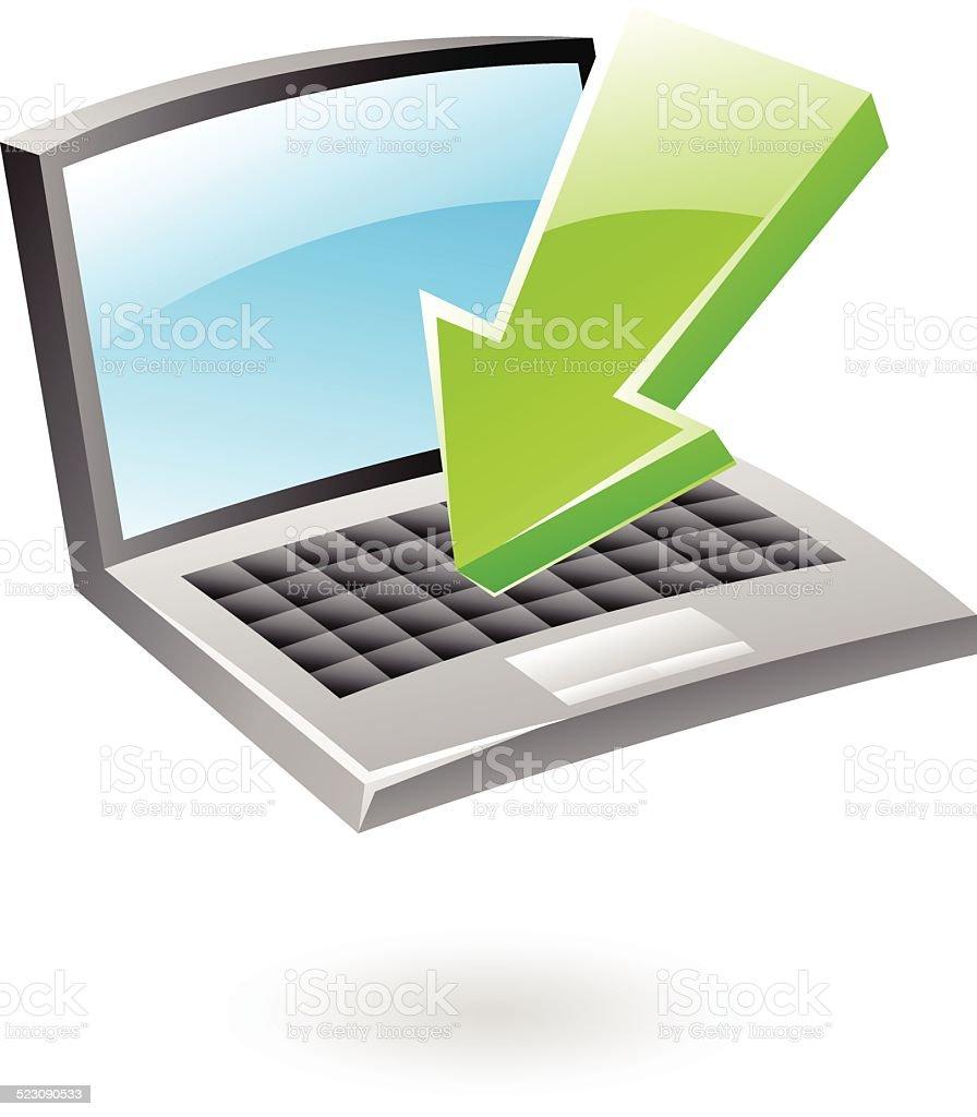 3 d icône de téléchargement stock vecteur libres de droits libre de droits