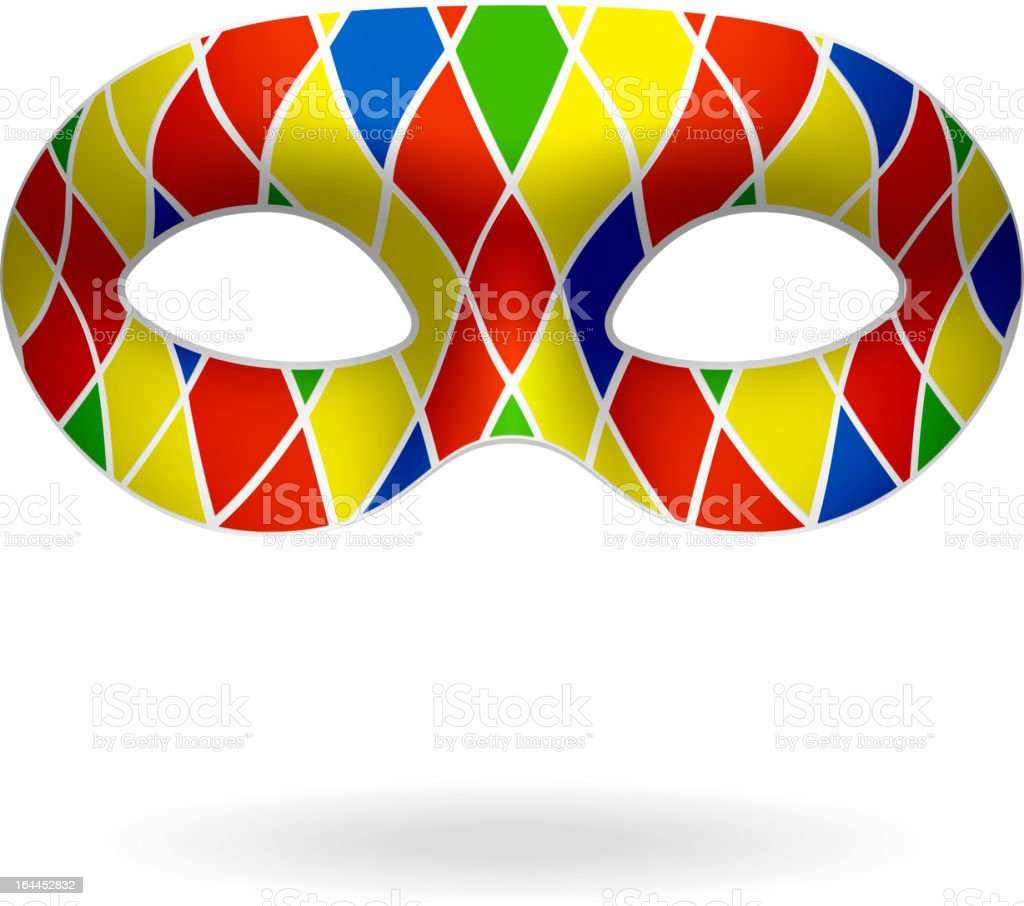 3d drawing of colorful Carnival mask over white background royalty-free stock vector art