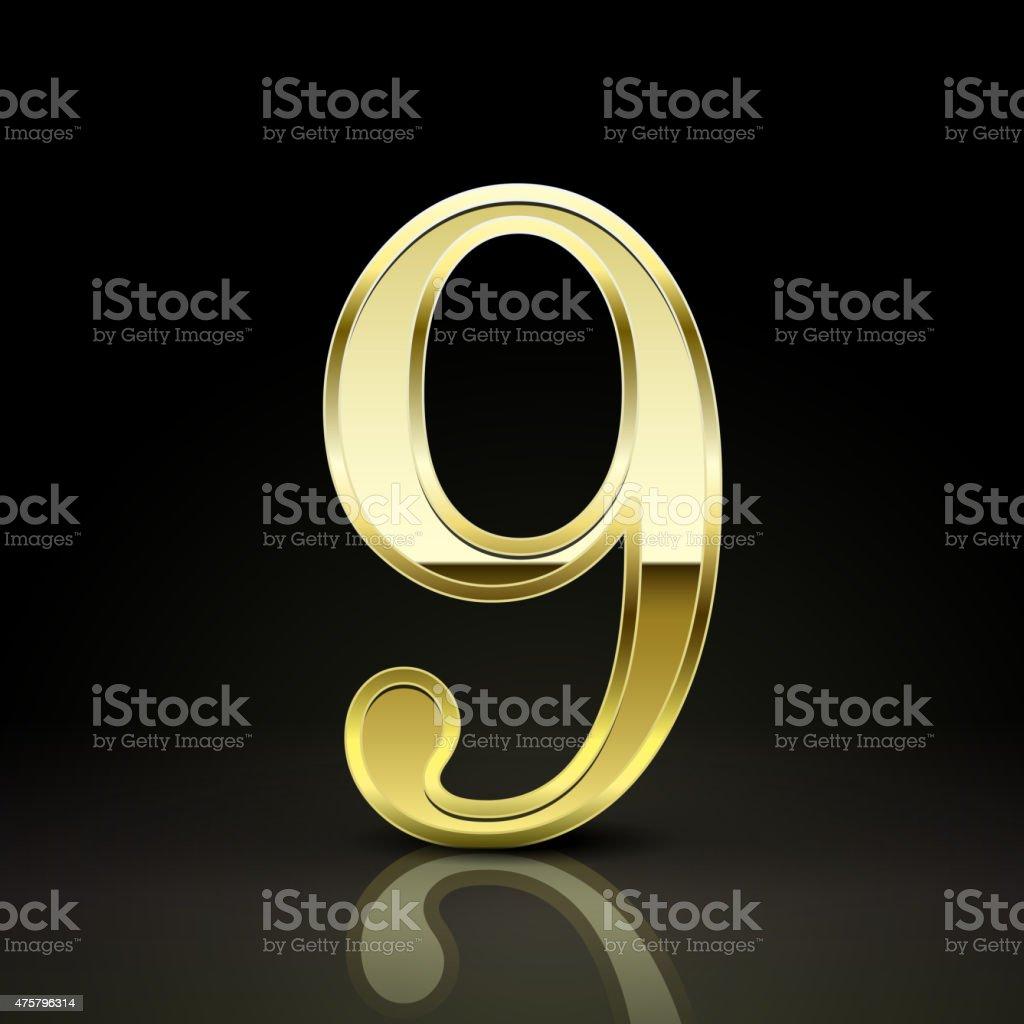 3d elegant golden number 9 vector art illustration