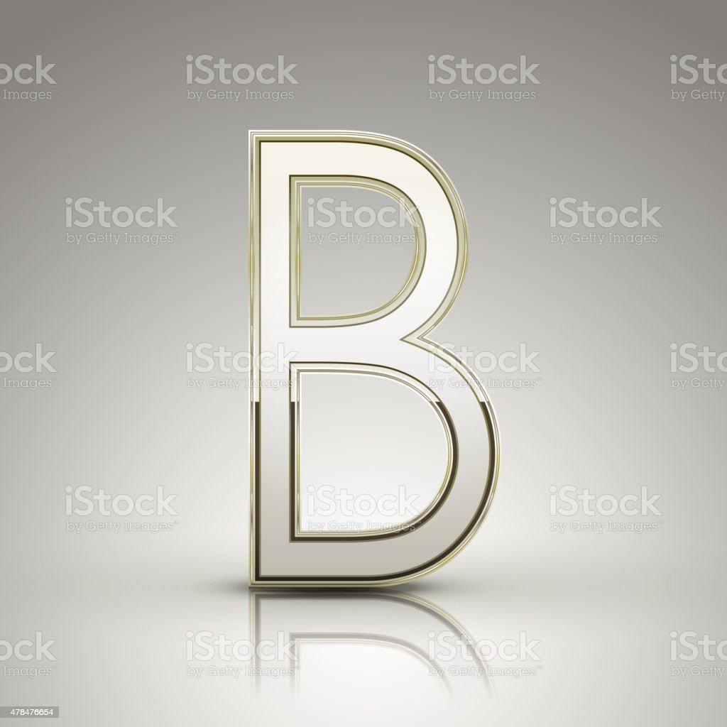 3d elegant pearl white alphabet B vector art illustration