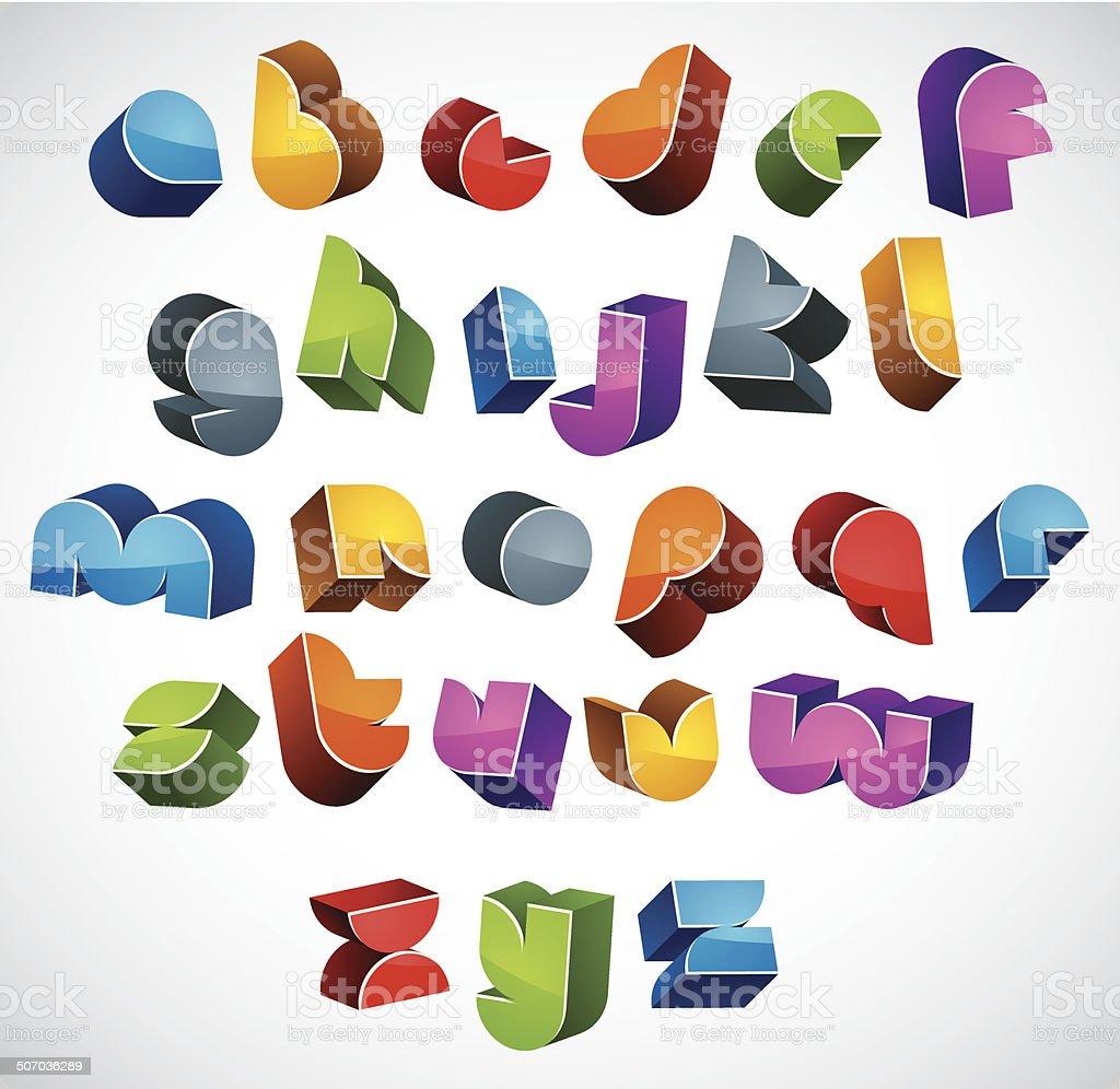 3d futuristic font, vector bright and colorful letters. royalty-free stock vector art