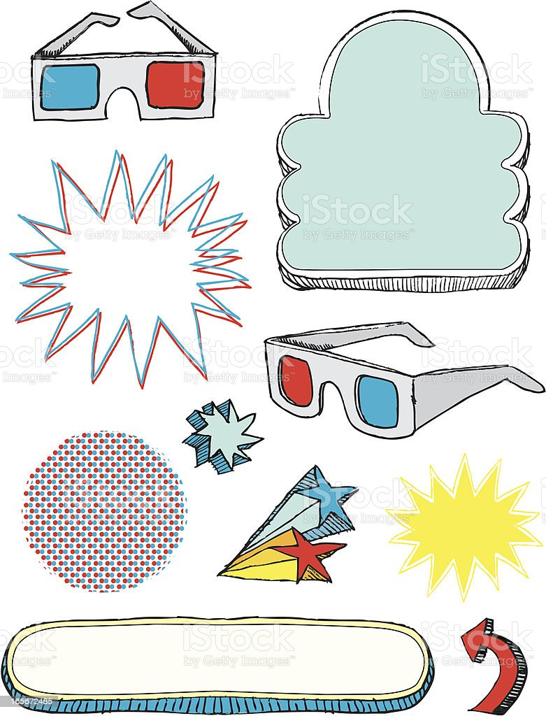3-d glasses and design elements royalty-free stock vector art