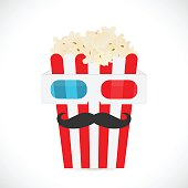 3d glasses and popcorn illustration