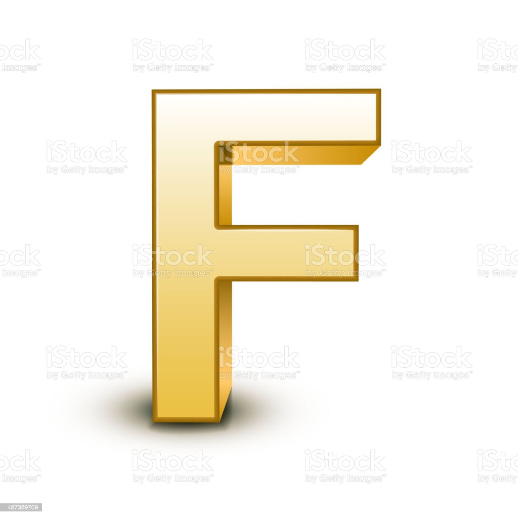3d golden letter F vector art illustration
