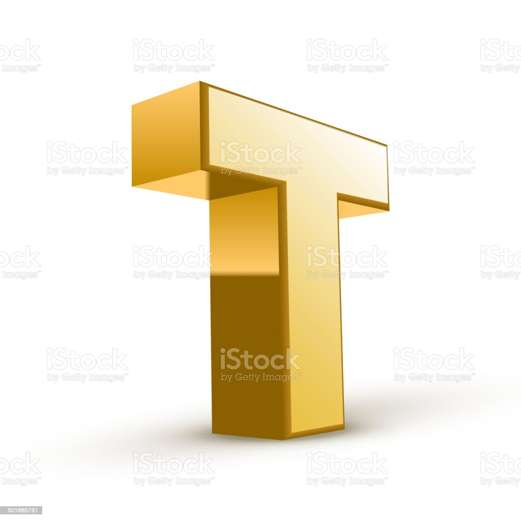 3d golden letter T vector art illustration