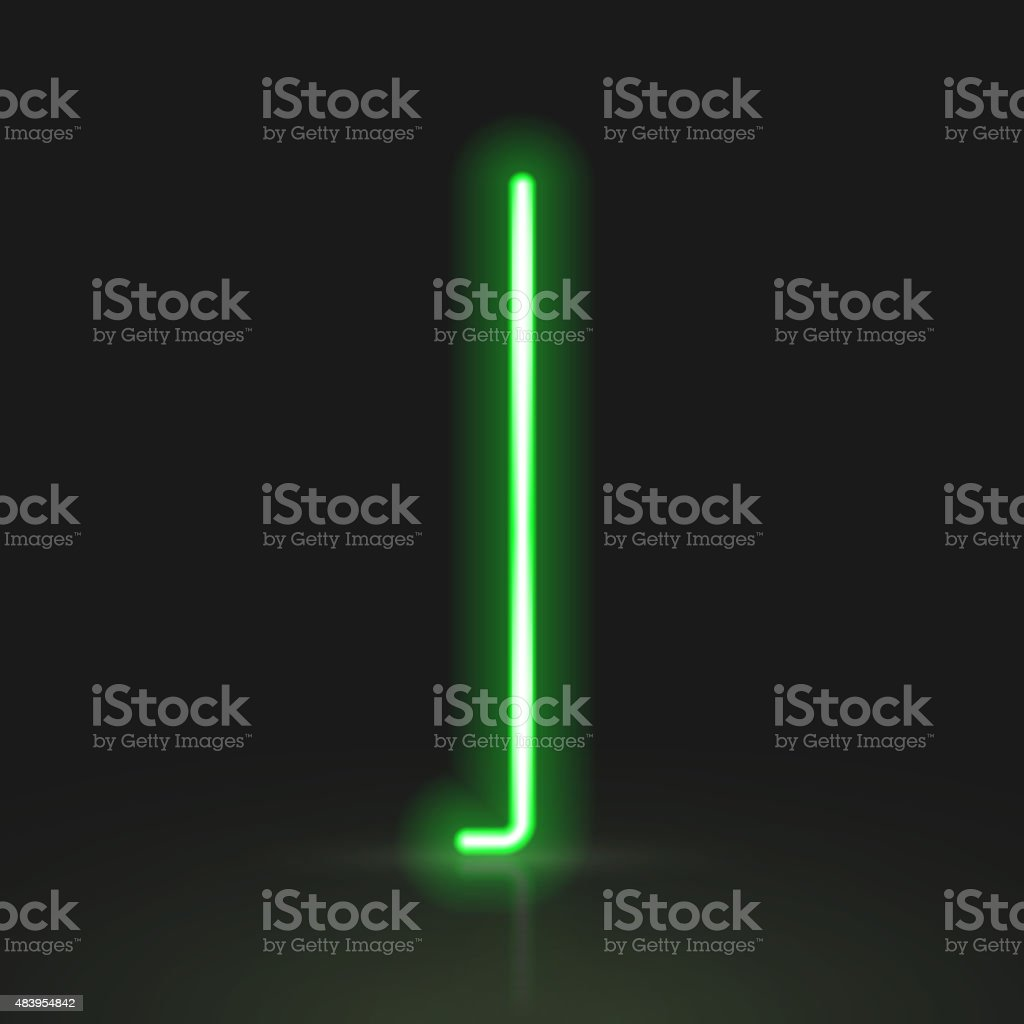 3d green neon light letter I vector art illustration