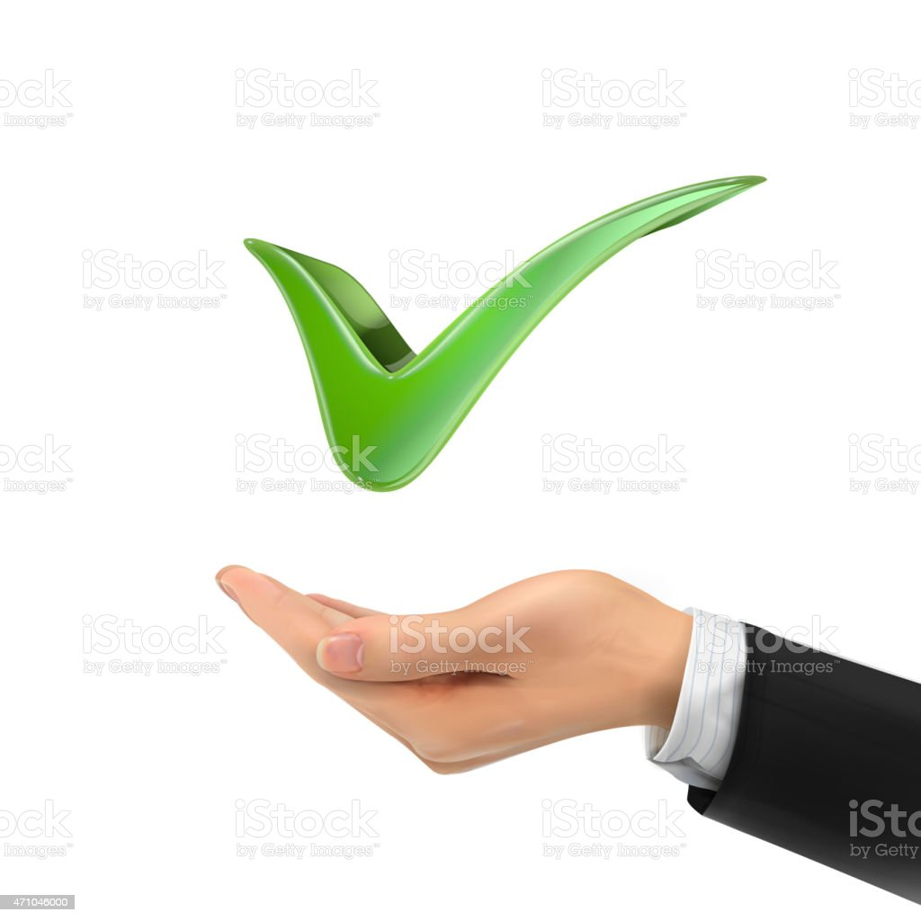 3d hand holding check mark vector art illustration