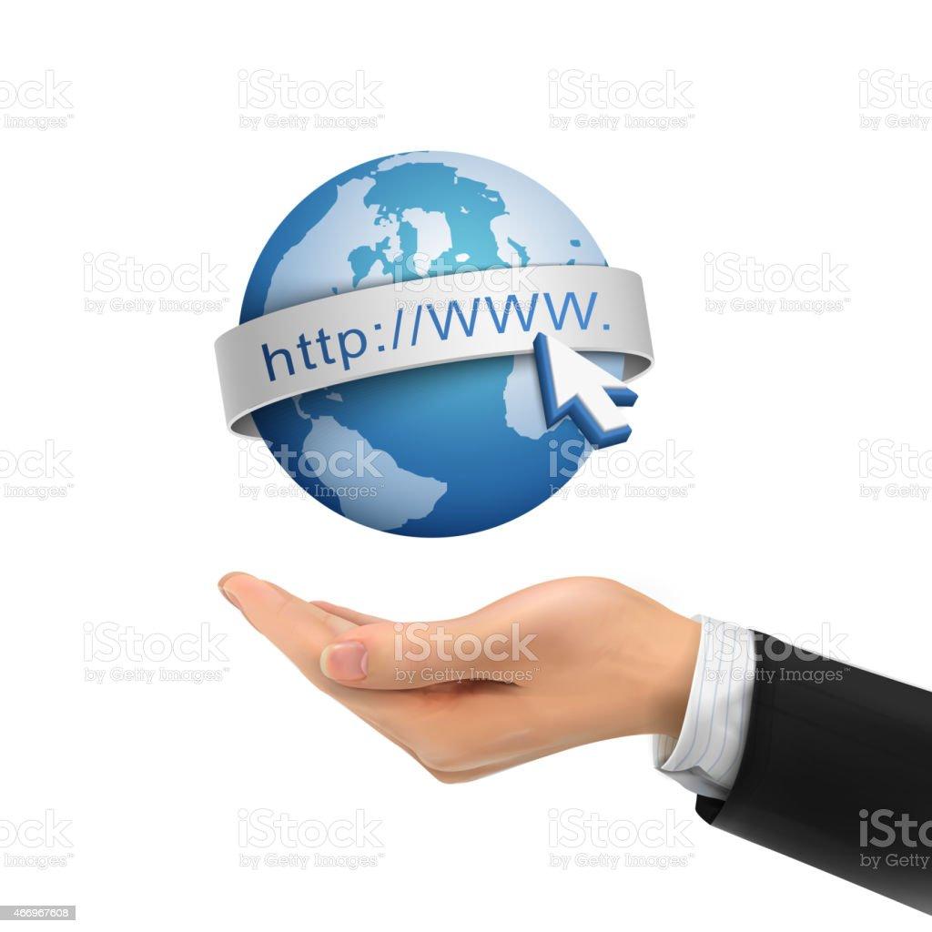 3d hand holding globe Internet symbol vector art illustration