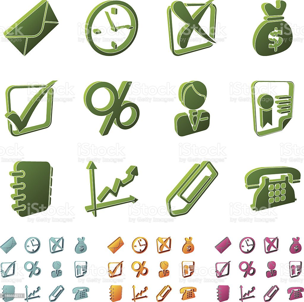 3d icons - business royalty-free stock vector art