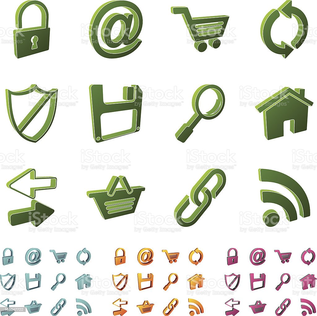 3d icons - internet royalty-free stock vector art