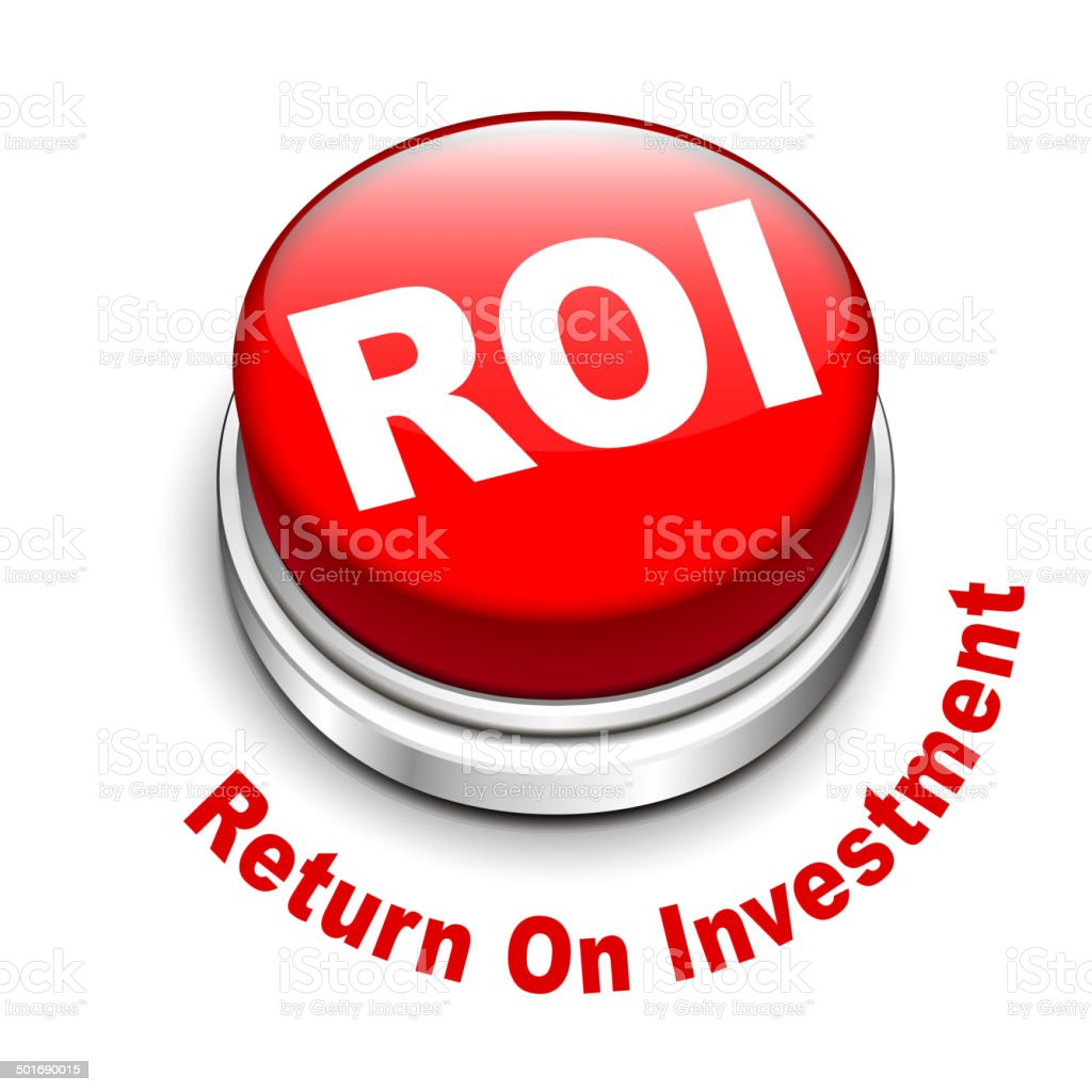 3d illustration of roi (return on investment) button vector art illustration
